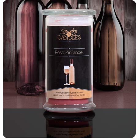 Jewelry in Candles Rose Zinfandel scented Candle